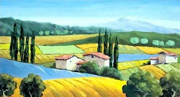 Reprodução do quadro  Cypresses on The Hill
