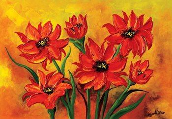 Reprodução do quadro Dahlias