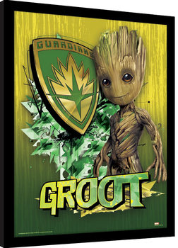 Guardians Of The Galaxy Vol. 2 - Groot Shield Poster Emoldurado