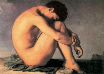 Reprodução do quadro H. Flandrin - Young Man by the Sea