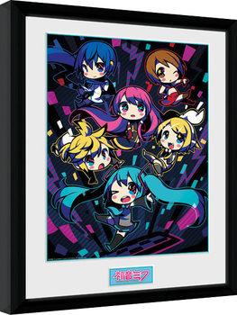 Hatsune Miku - Neon Chibi Poster Emoldurado