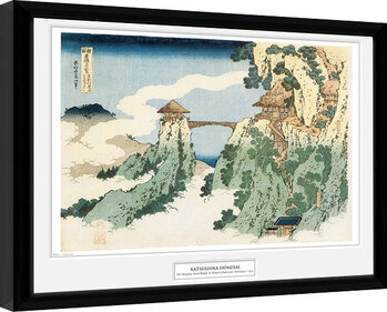 Hokusai - The Hanging Cloud Bridge Poster Emoldurado