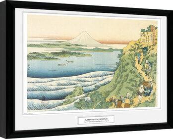 Hokusai - Travelers Climbing a Mountain Poster Emoldurado