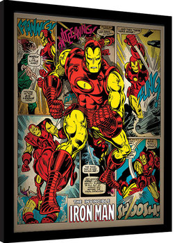 Iron Man - Retro Poster Emoldurado