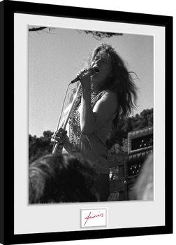 Janis Joplin - Singing BW Poster Emoldurado