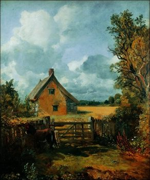 Reprodução do quadro  John Constable - Cottage a Cornfield