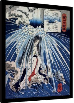 Kuniyoshi - Tonosawa Waterfall Poster Emoldurado