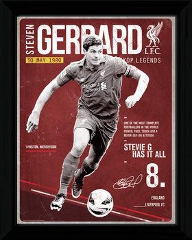 Liverpool - Gerrard Retro Poster Emoldurado