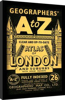 London - A-Z Vintage Poster Emoldurado