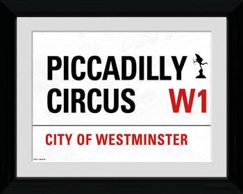 London - Piccadilly Circus Street Sign Poster Emoldurado