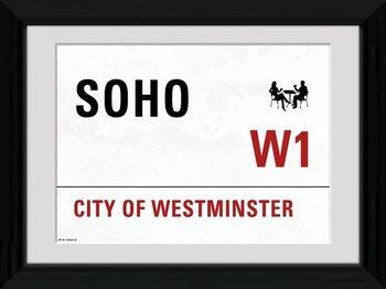 London - Soho Poster Emoldurado