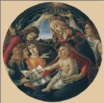 Reprodução do quadro  Madonna of the Magnificat, 1481-85