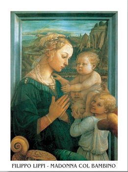 Reprodução do quadro Madonna with Child and two Angels
