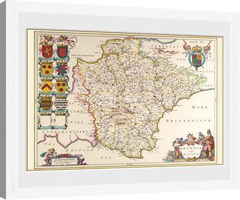 Maps - Devon (White) Poster Emoldurado