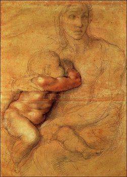 Reprodução do quadro  Michelangelo - Madonna Col Bambino