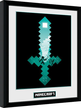 Minecraft - Diamond Sword Poster Emoldurado