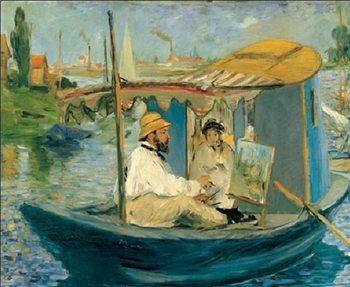 Reprodução do quadro Monet Painting on His Studio Boat