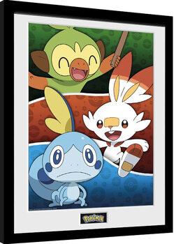 Pokemon - Galar Starters Poster Emoldurado
