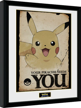 Pokemon - Pikachu Needs You Poster Emoldurado
