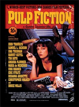 Pulp Fiction - Uma On Bed Poster Emoldurado