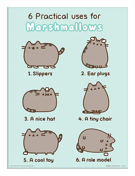 Pusheen - Practical Uses for Marshmallows Poster Emoldurado