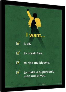 Queen - I Want Checklist Poster Emoldurado