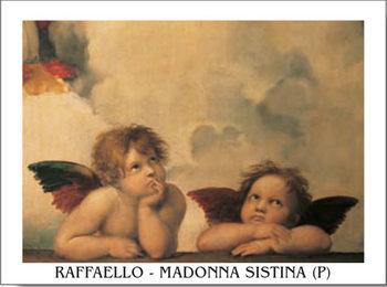 Reprodução do quadro  Raphael Sanzio - Sistine Madonna, detail - Cherubs, Angels 1512