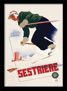 Retro - Italia sestriere Poster Emoldurado