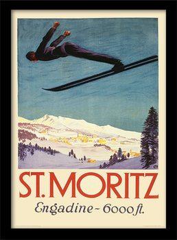 Retro - St. Moritz Poster Emoldurado