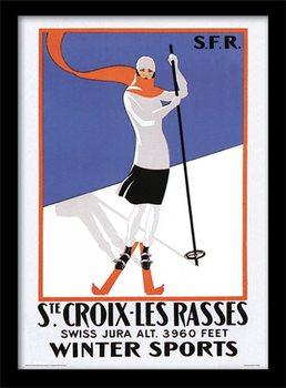 Retro - Ste. Croix-les rasses Poster Emoldurado