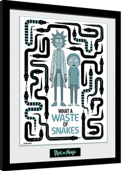 Rick & Morty - Waste of Snakes Poster Emoldurado