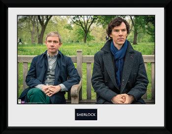 Sherlock - Park Bench Poster Emoldurado