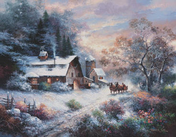 Reprodução do quadro SNOWY EVENING OUTING