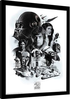 Star Wars 40th Anniversary - Montage Poster Emoldurado