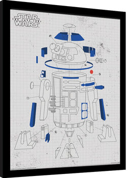 Star Wars The Last Jedi - R2-D2 Exploded View Poster Emoldurado