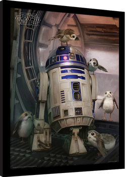 Star Wars The Last Jedi - R2-D2 & Porgs Poster Emoldurado
