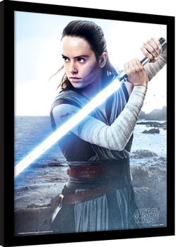 Star Wars The Last Jedi - Rey Engage Poster Emoldurado