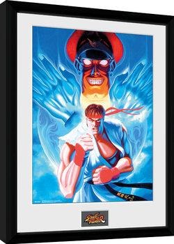 Street Fighter - Ryu and Bison Poster Emoldurado