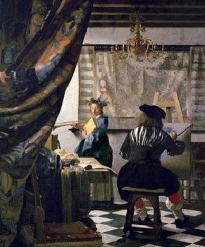 Reprodução do quadro The Art of Painting, 1666-73