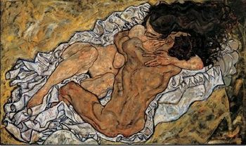 Reprodução do quadro  The Embrace (Lovers II), 1917