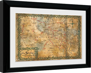 The Hobbit - Map Poster Emoldurado
