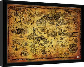 The Legend Of Zelda - Hyrule Map Poster Emoldurado