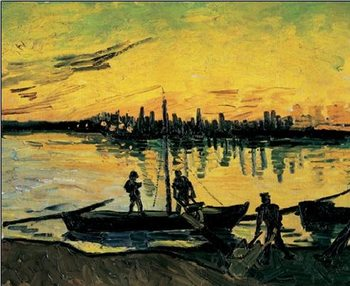 Reprodução do quadro The Stevedores in Arles, 1888