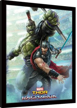 Thor Ragnarok - Thor And Hulk Poster Emoldurado