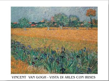 Reprodução do quadro  View of Arles with Irises in the Foreground, 1888