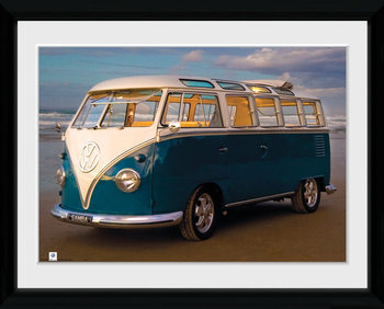 VW Brendan Ray - Blue Kombi Poster Emoldurado