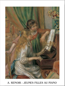 Reprodução do quadro  Young Girls at the Piano, 1892
