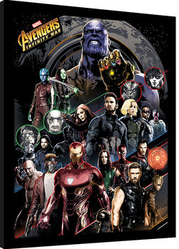 Poster Emoldurado Avengers Infinity War - Character Coloured Bands