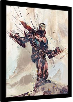 Poster Emoldurado Avengers: Infinity War - Iron Man Sketch