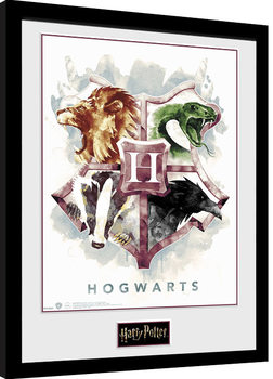 Poster Emoldurado Harry Potter - Hogwarts Water Colour